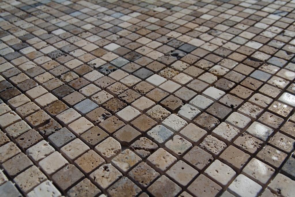 Pdr srl mosaco travertino burattato - Posa mosaico bagno ...