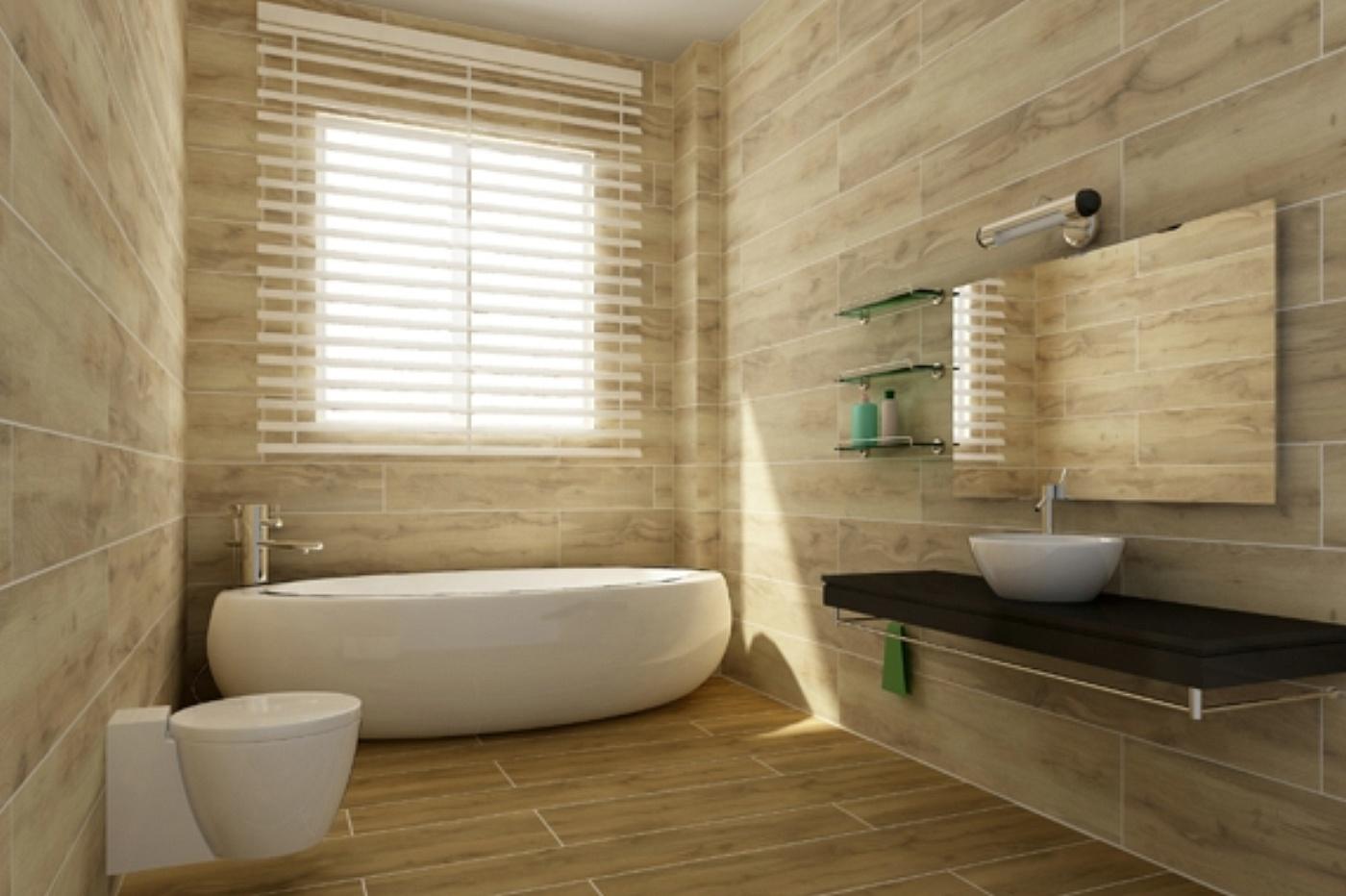 Piastrelle finto legno infissi del bagno in bagno - Bagno finto legno ...